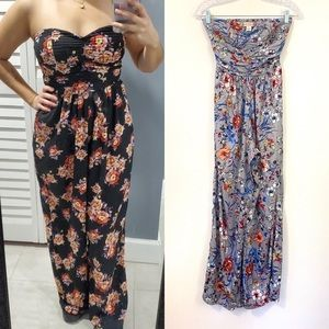 Band of Gypsies Strapless Floral Jumpsuit/ XS